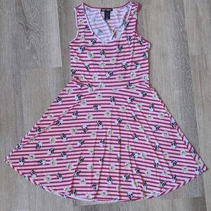 🌼Hot Topic Skull Daisy Stripe Skater Dress Medium